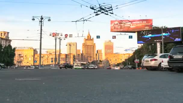Traffic near the building of the Ministry of Foreign Affairs of the Russian Federation in Moscow