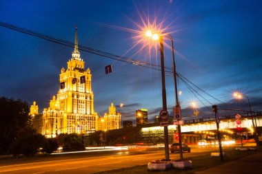 Hotel Ukraine at night in Moscow.