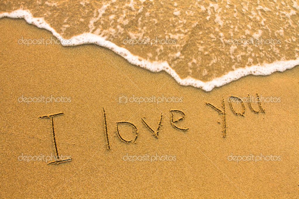Картинка с надписью я люблю тебя на песке