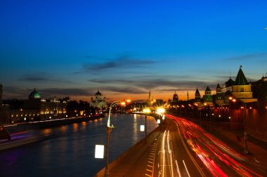 Embankment of the Moskva River near the Kremlin in Moscow, Russia.