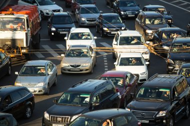 Cars stands in traffic jam on the city center, Moscow Russia