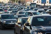 bilar står i trafik stopp på city center, Moskva, Ryssland