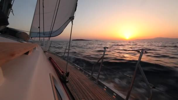 Yacht sailing against sunset. Travel Concept. Sailboat. Luxury yacht. Sailing. Vacation. (HD)