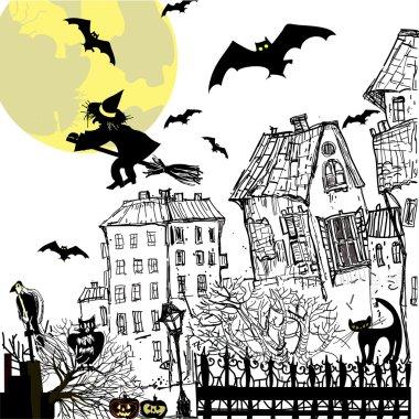 Ink sketch halloween background