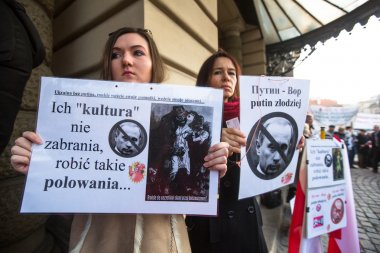 Unidentified participants during protest near Krakow Opera