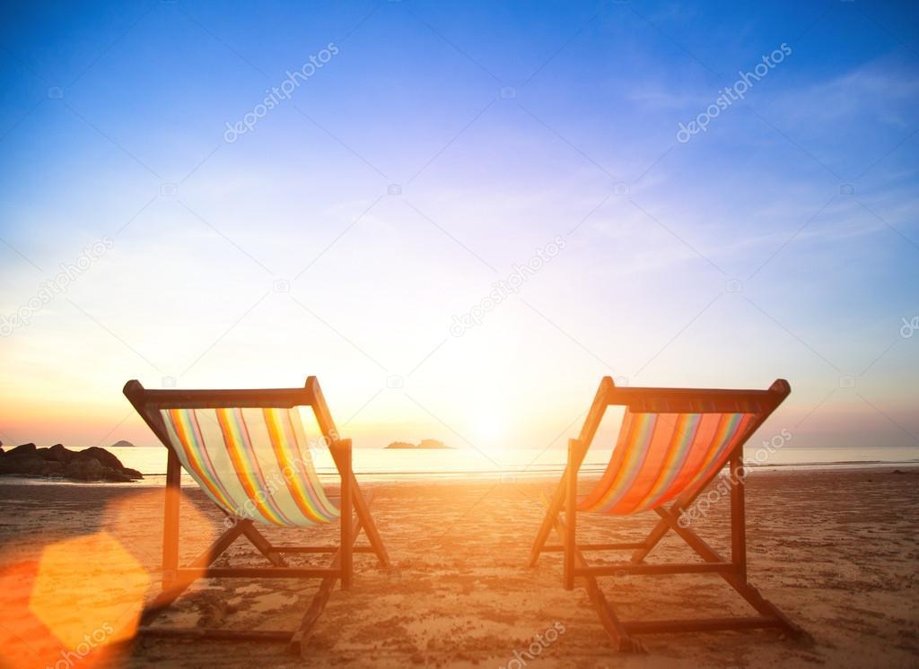 Chairs on sea coast