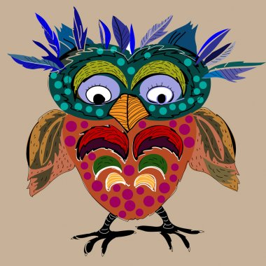 Cute Owl, cartoon drawing