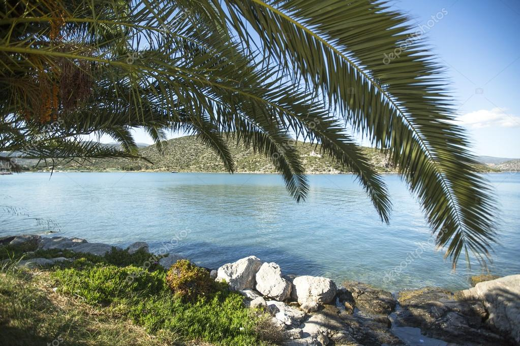 Marina of Greek island in Saronic Gulf