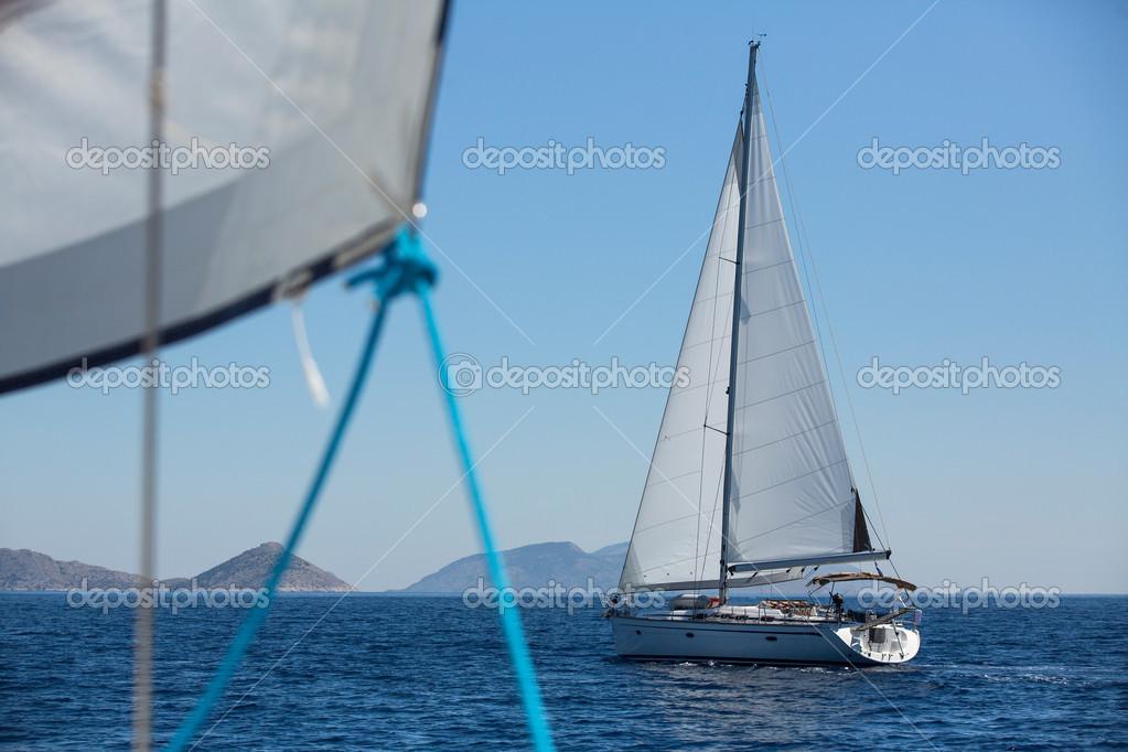 Boat in sailing regatta