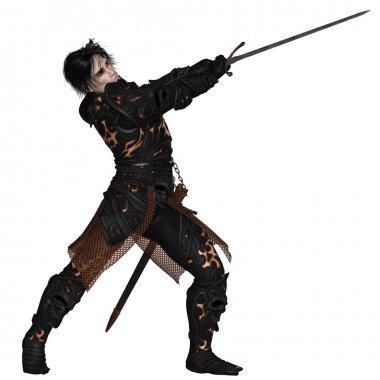 Dark Warrior Swinging his Sword