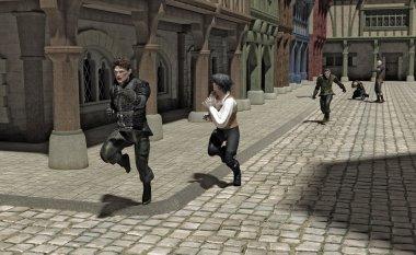 bir ortaçağ Caddesi takip