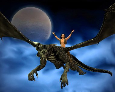 Dragon Rider with Moon and Clouds