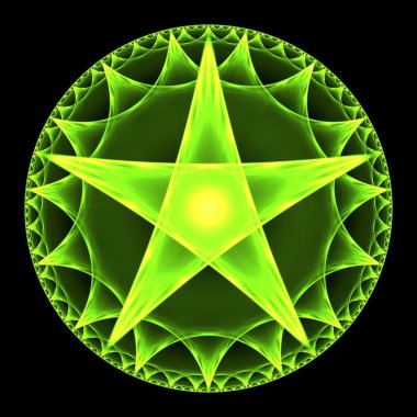 Green Pentangle Abstract Fractal Design