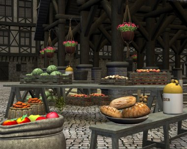 Farmers Market in a Medieval Marketplace
