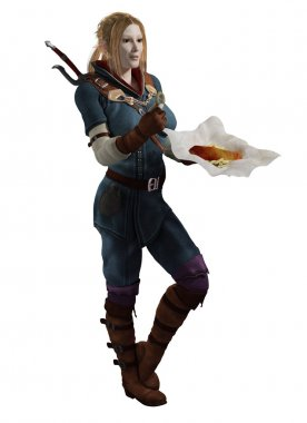 Female fantasy adventurer having a meal break of fish and chips, 3d digitally rendered illustration stock vector