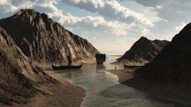 Viking Longships in an Icelandic Inlet