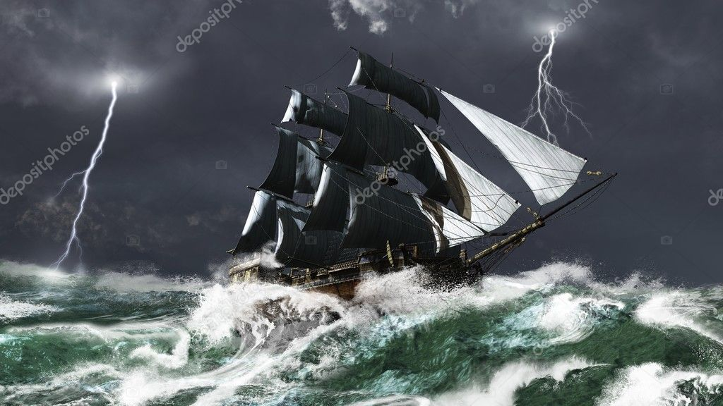 Фотообои Sailing Ship in a Lightning Storm