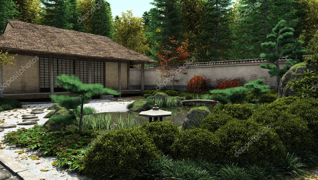 Japanese Tea House And Pond Stock Photo