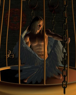 Caged Male Angel in a Dark Dungeon