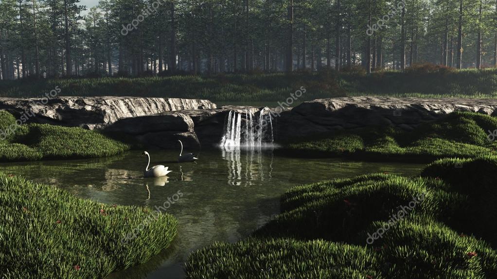 Swan Lake with Waterfall