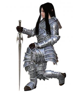 Elf Warrior - Kneeling