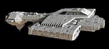 Spaceship on black - side view