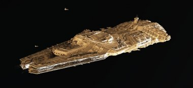 Space Battle Cruiser From Above