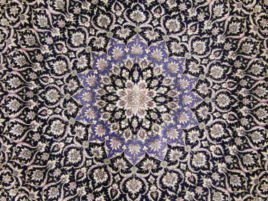 Crafts. Central part of an old carpet with an oriental pattern. Background.