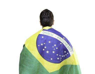 Brazilian holding a brazilian flag