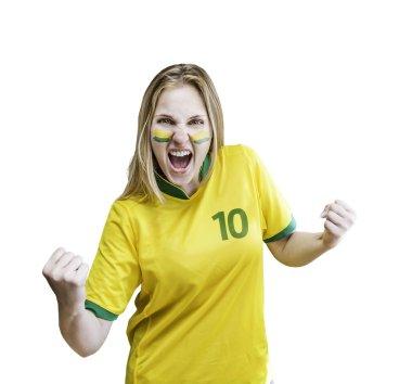 Brazilian fan celebrates