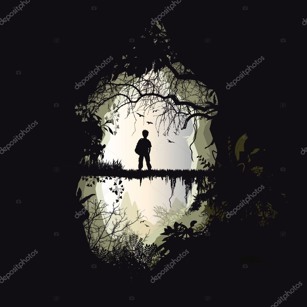 Man,forest,wood,jungle,character,footbridge,passage,bridge,landscape,vegetation, fauna,nature,ride,walker,mountain,relief,distant,contemplation,liana, panorama,dream,dreamer,fantasy,excursion,paradise