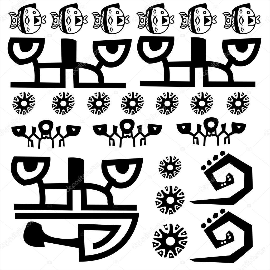 Işaret Sembol Ilkel Kabile Hiyeroglif Dil Yazıt Inka Maya