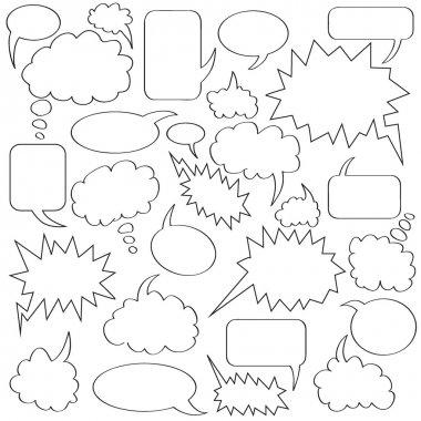 Comics bubble collection white and black border clip art vector