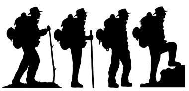 Hiker silhouettes on the white background stock vector
