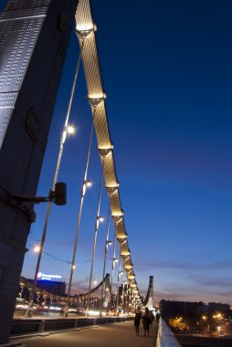 Crimean Bridge at night in Moscow, Russia