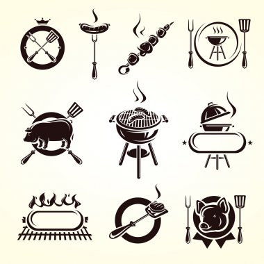 Grill elements set. Vector stock vector