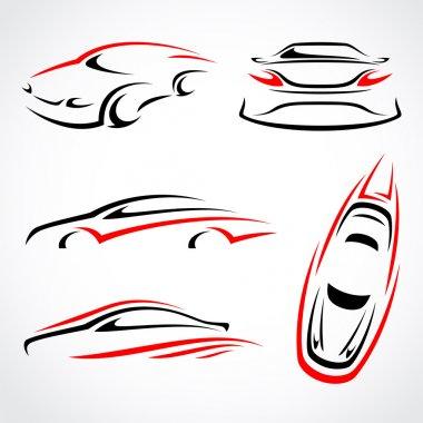 Cars abstract set. Vector