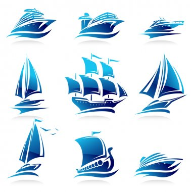 Ships set. Vector stock vector