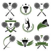 Fotografie badminton sada štítků a ikon. vektor
