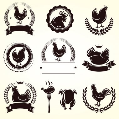 Chicken labels set. Vector stock vector