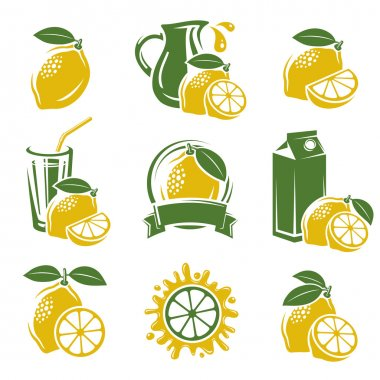 Lemon labels and elements set.