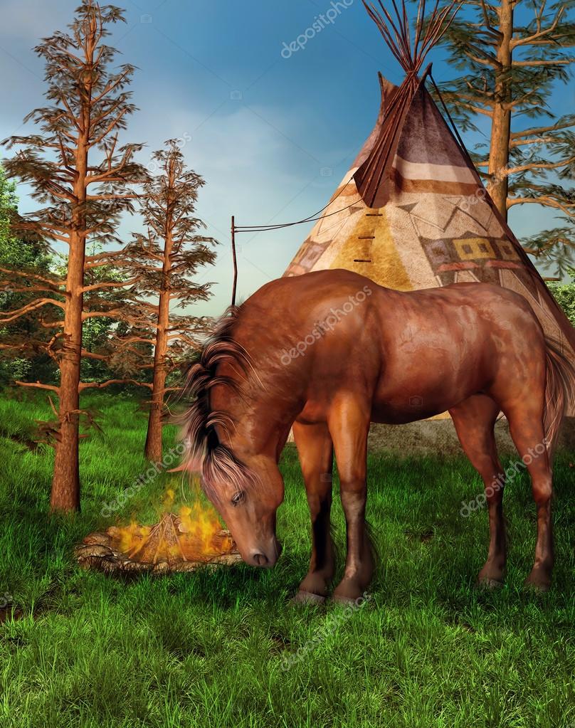 Brown horse in a camp