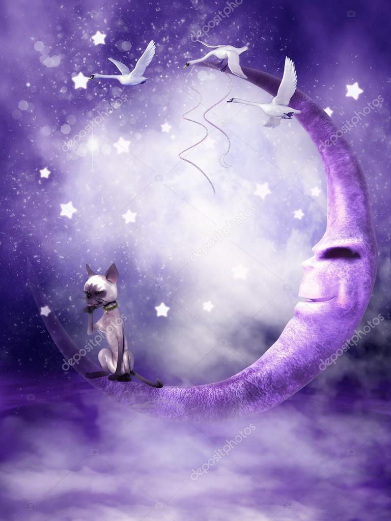Fantasy Purple Moon Stock Photo FairytaleDesign 12651773
