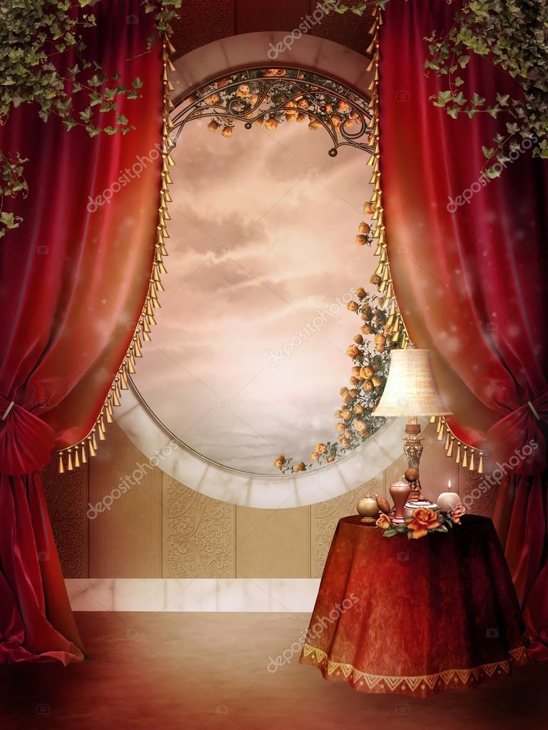 Red Victorian Bedroom victorian bedroom with red curtains — stock photo