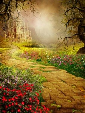 """Картина, постер, плакат, фотообои """"желтая дорога к замку цветы"""", артикул 12724269"""