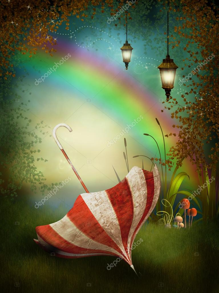 Fantasy background with a rainbow