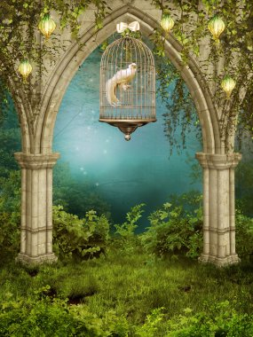 Enchanted garden with a cage