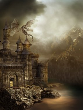 Fantasy castle with a dragon