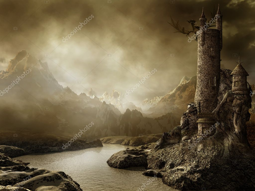 Fantasy landscape with a tower