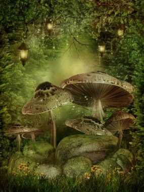 Enchanted forest with mushrooms and rocks stock vector